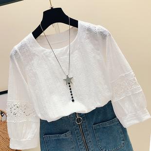 【女装】镂空上衣女超仙遮肚子雪纺衫女短袖娃娃领洋气宽松显瘦清新蕾丝衫