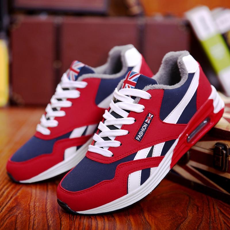 男鞋运动鞋休闲学生旅游鞋韩版红色跑步潮鞋子男冬季加绒保暖棉鞋
