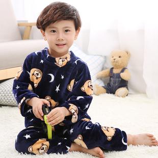 儿童睡衣秋冬珊瑚绒中大童加厚男童法兰绒女童长袖宝宝家居服套装