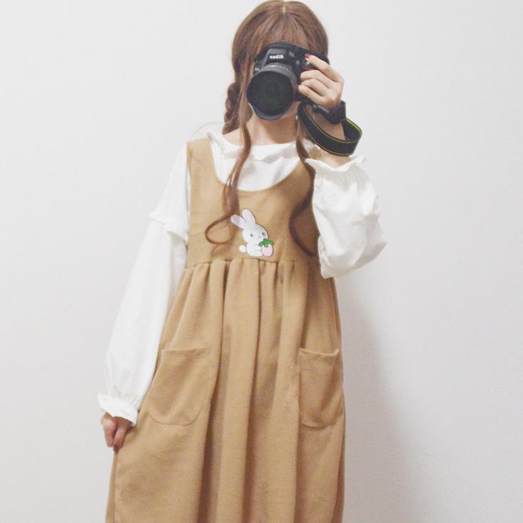 秋冬新款日系软妹甜美长袖衬衣 可爱刺绣高腰背心裙女学生两件套