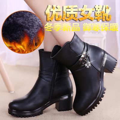 中年女靴子中跟粗跟女鞋加绒冬靴保暖妈妈鞋秋冬季棉鞋妇女中筒靴