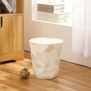 简约北欧褶皱垃圾桶家用客厅卧室创意个性纸篓卫生间厨房垃圾筒