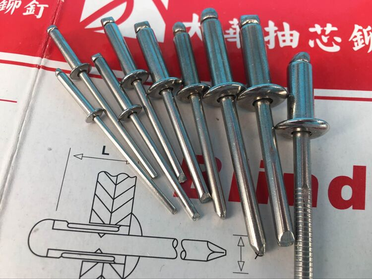 All 304 stainless steel rivets DIN DIN7337A China 304 3.2/4.0 diameter nails