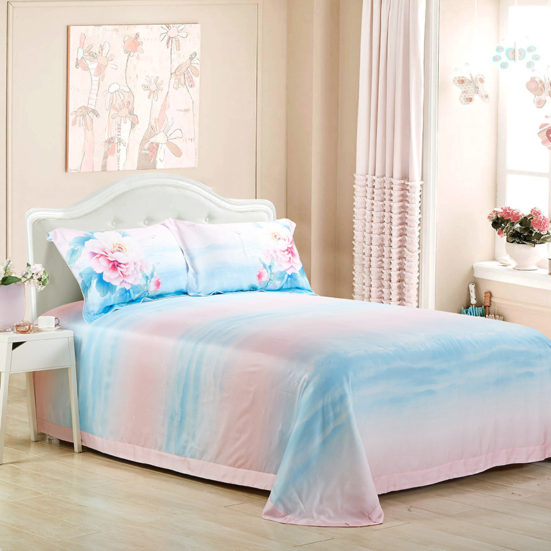 The spring and summer of 80 authentic imported Tencel four piece double-sided pure Tencel satin silk flannelette bed naked 1.8m