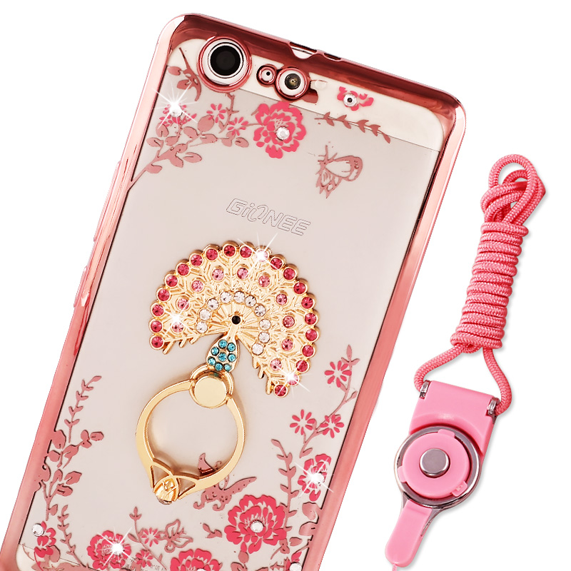 M5 mobile phone shell diamond ring pattern Jin Jin M5 protective sleeve full wrapping M5 lanyard ring soft shell female tide