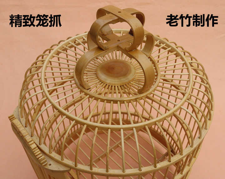 Bamboo bamboo cage thrush cage trumpet 30cm Shuanglong carving large cages full set of accessories