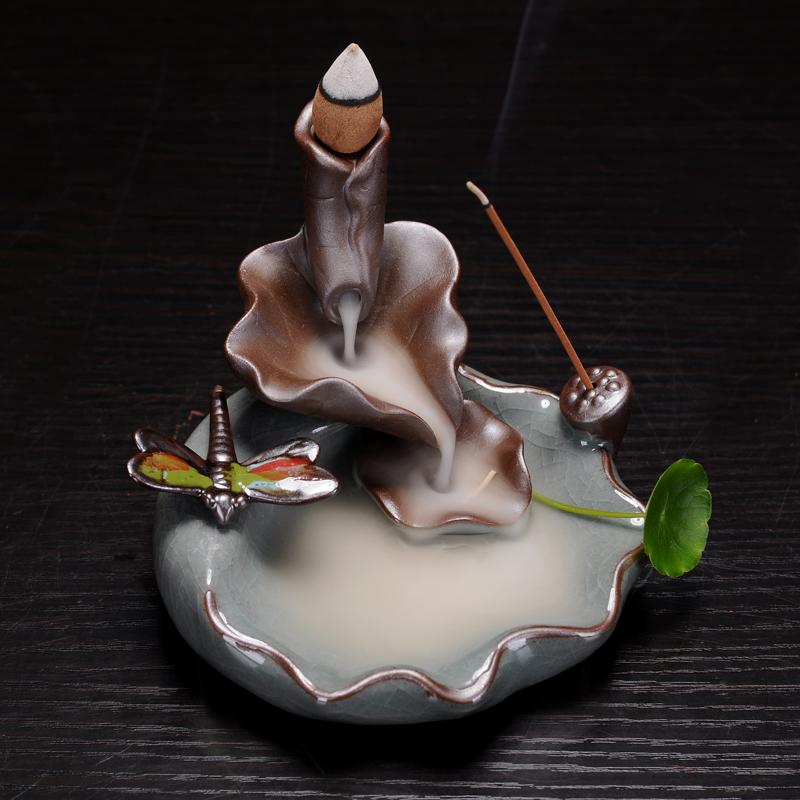 荷塘月色-蜻蜓 2用創意陶瓷倒流香爐流煙室內點香座回流香爐香茶道家用香薰擺件禪意