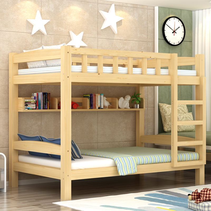M young students bunk bed cluster simple wooden slide double environmental economic adult children bed