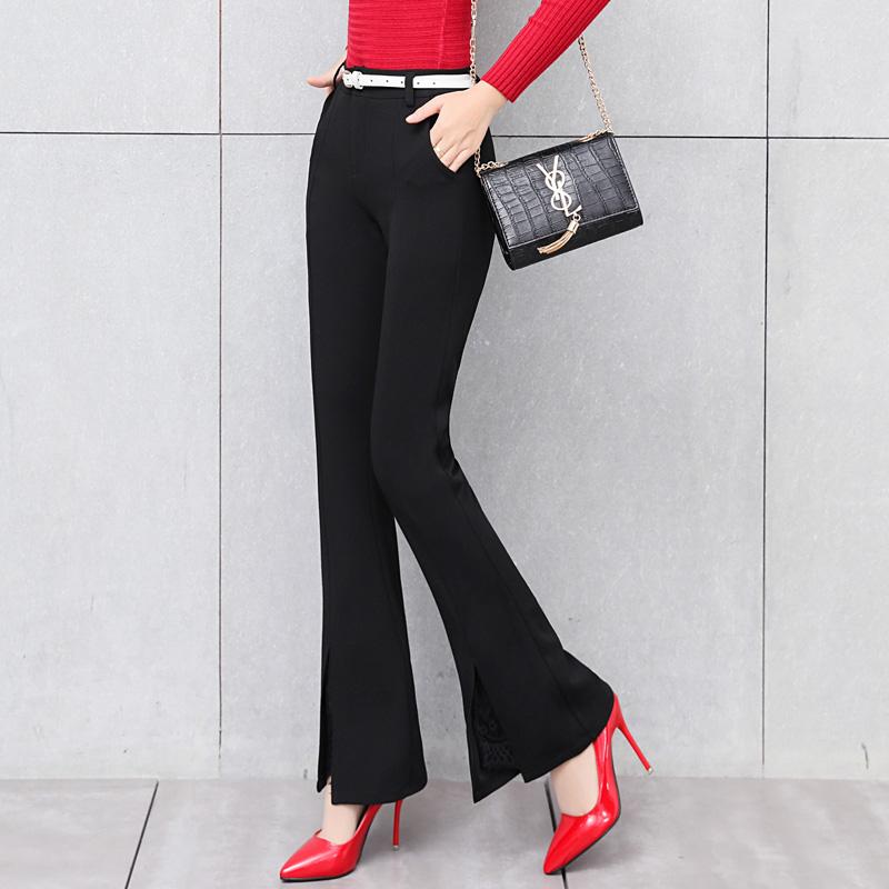 kvindelige bukser 2017 nye efterår og vinter koreanske høj - waisted bukser kvindelige fold bukser med cylindriske mikro - bell - kashmir