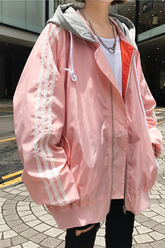 Backpulver ulzzang Street BF Wind streifen - biker - Jacke Bewegung kapuzen baseball - Jacke von männern und Frauen im Herbst