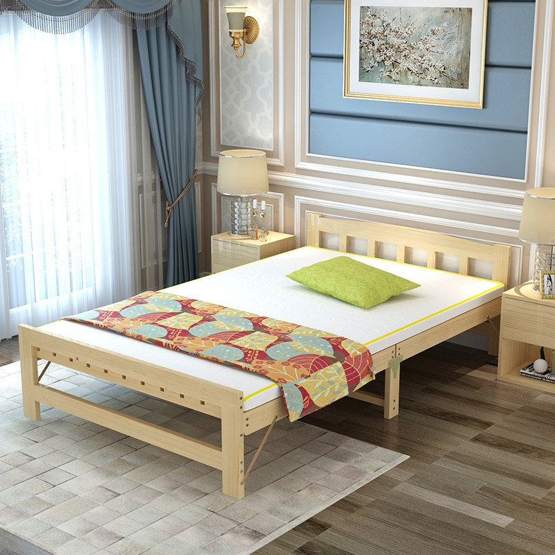 Solid wood bed, wooden bed, folding bed, double bed, economic type Korean 0.8/0.9/1.0m1.2/1.5 meters