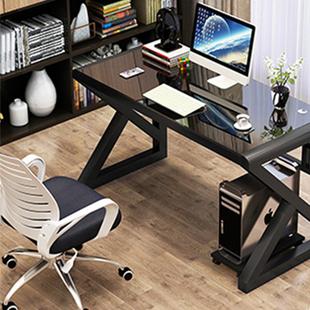 电脑桌台式家用简约现代学生书桌书架组合一体桌子卧室简易学习桌