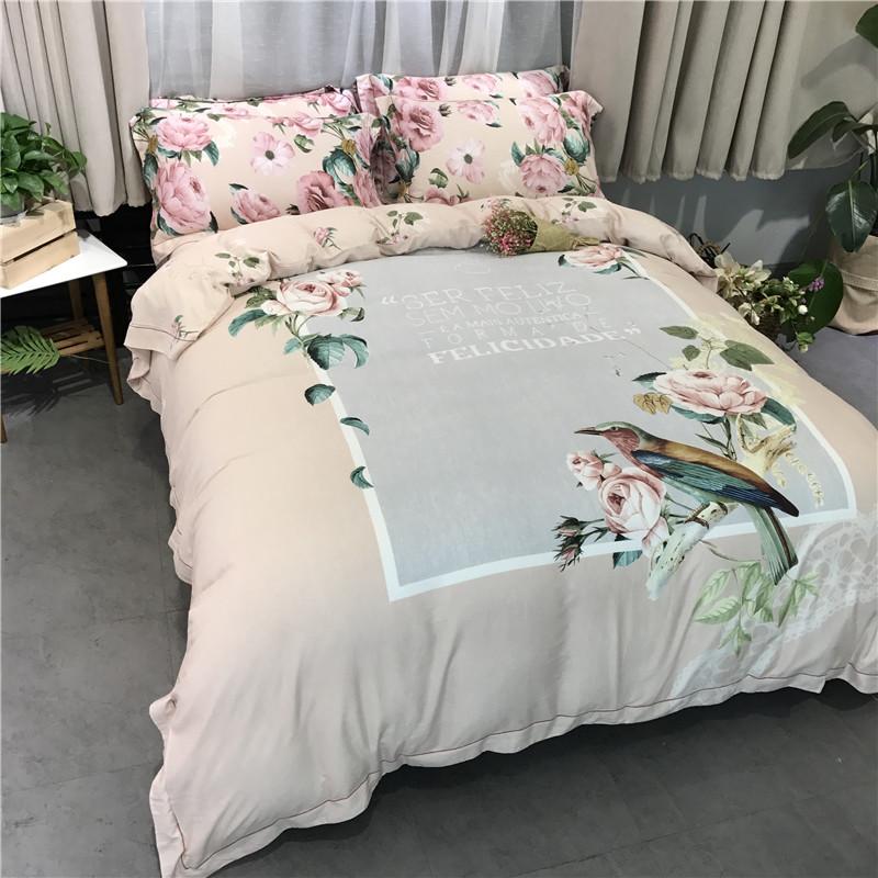 Super soft warm winter sanding Tencel four piece thick sanded bed linen 1.5 meters 1.8m bedding