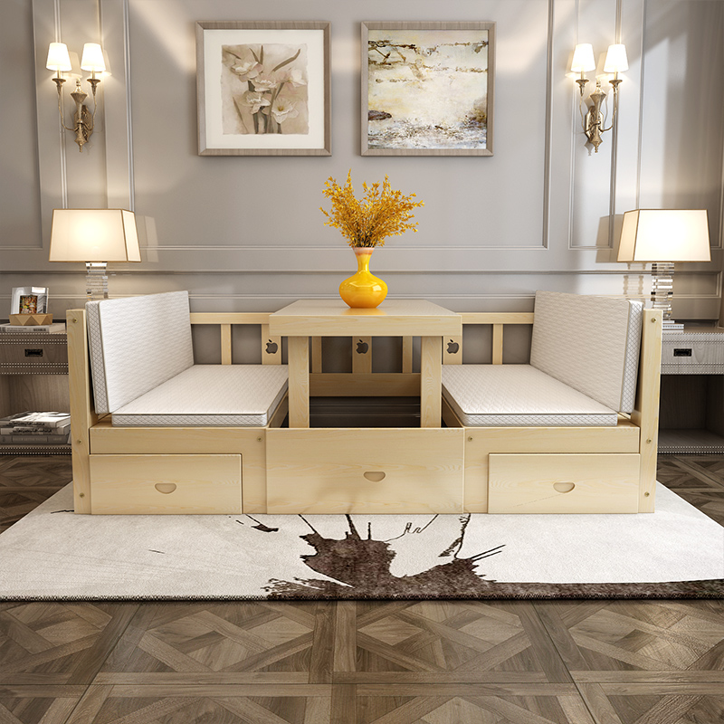 Solid wood bed, children's bed, desk, modern simple single bed, 1.21.5 meters double bed, multifunctional sofa bed