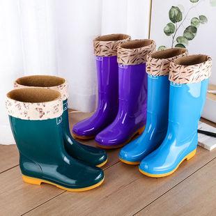 高筒防滑加绒棉雨鞋雨靴防水鞋桶胶鞋套鞋水靴女成人厨房保暖冬季