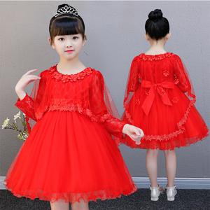 新款秋季花童礼服女儿童礼服公主裙蓬蓬纱婚纱裙女童连衣裙演出服