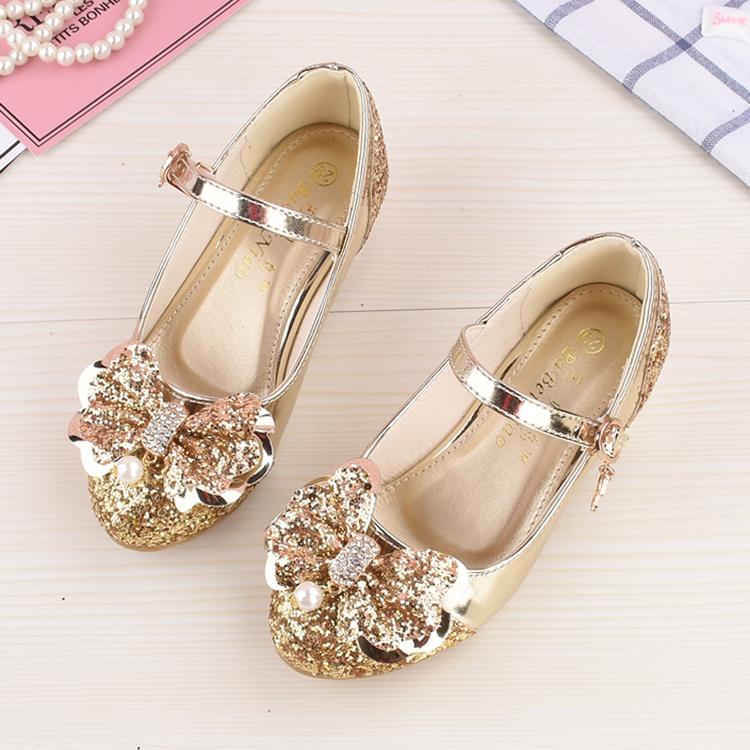 女童高跟鞋单鞋2017春秋季新款公主鞋金色蝴蝶结儿童舞蹈鞋水晶鞋