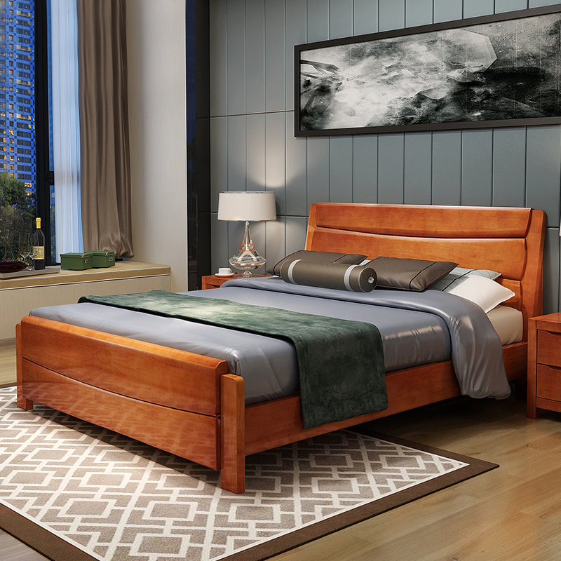 Solid wood bed, 1.5/1.8 m double bed wedding bed, modern Chinese oak bed, pneumatic storage, high box, white bed