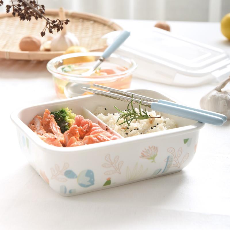 陶瓷吃饭盒带盖保鲜密封便当盒微波炉加热专用分隔分格碗可爱学生