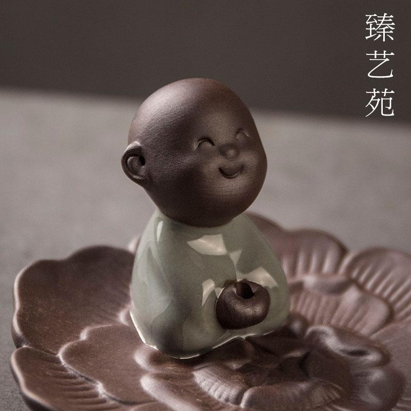 Включить маленький монах кадило ладан творческих керамики цветок лотоса фимиам персонажей Сянсян сиденья в спальне Ароматерапия помещениях включить печь