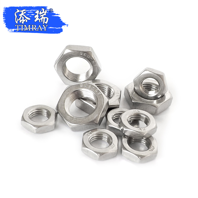 Medium thin stainless steel hex nut M4M5M6M8M10M12M14M16x0.5x0.75x1x1.25x1.5
