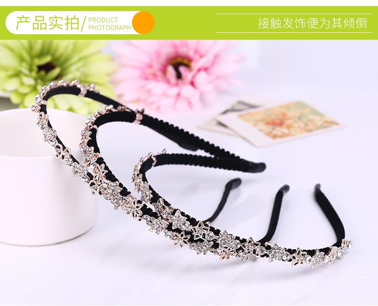 韓国版水晶帯ドリルリボン歯ファッションカチューシャ細甘い新型前洗顔かわいい淑女のスリップ気質