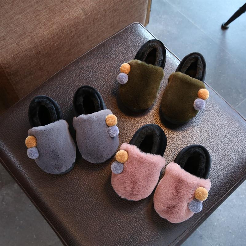 秋冬儿童棉拖鞋女韩版女童男童亲子地板鞋包跟保暖家居鞋室内防滑