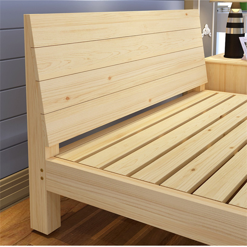 All solid wood bed 1.8 adult double bedroom 1.21.5m simple wooden bed methoxyflavone single bed double bed