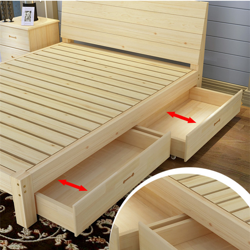 Double bed adult bed, all solid wood 1.8 meters bed storage bed, 1.2m single bed, princess bed, pine bed 1.5 meters