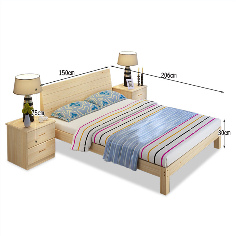 Solid wood bed 1.5m1.2 pine bed double bed 2 meters single bed 1.8m simple adult bed