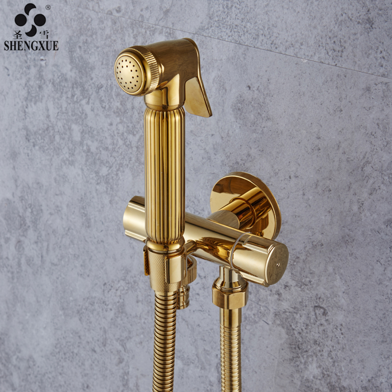 4 point copper three angle valve, golden water separator, one in, two out, double switch, multi function triangle valve with shower seat