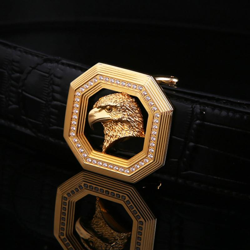 2017新型威鎌スティーブンベルトメンズステンレス镶钻方扣ベルトワニ紋牛皮裤帯