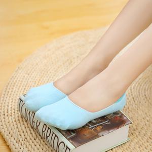 5双纯棉纯色隐形袜女防滑浅口夏季硅胶薄款短袜低帮防臭吸汗可爱