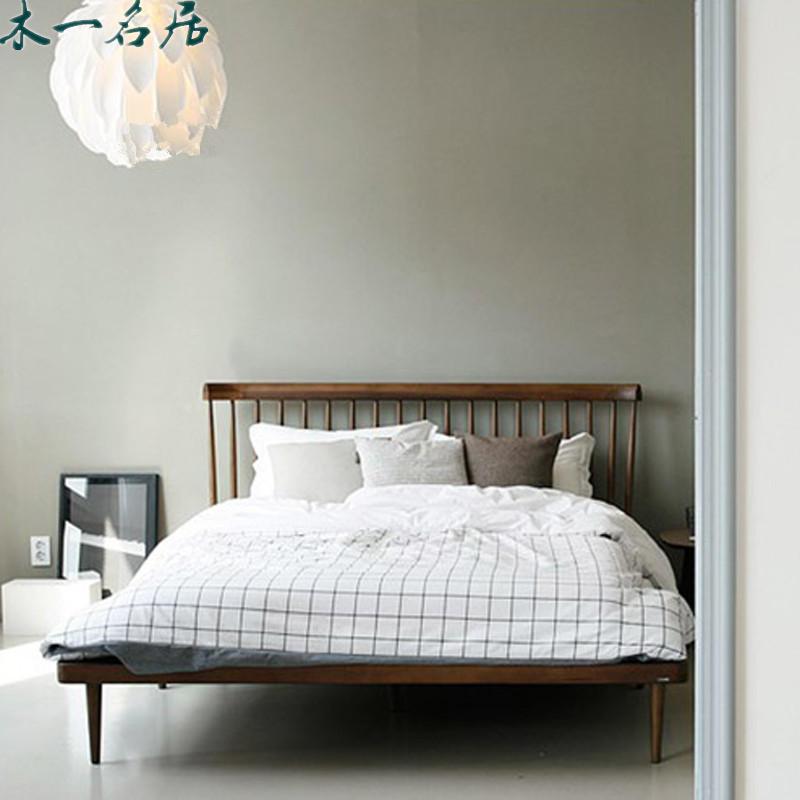 Simple pure Japanese oak wood short bed 1.5 meters 1.8 meters double Nordic black walnut Muzhu wedding bed lying