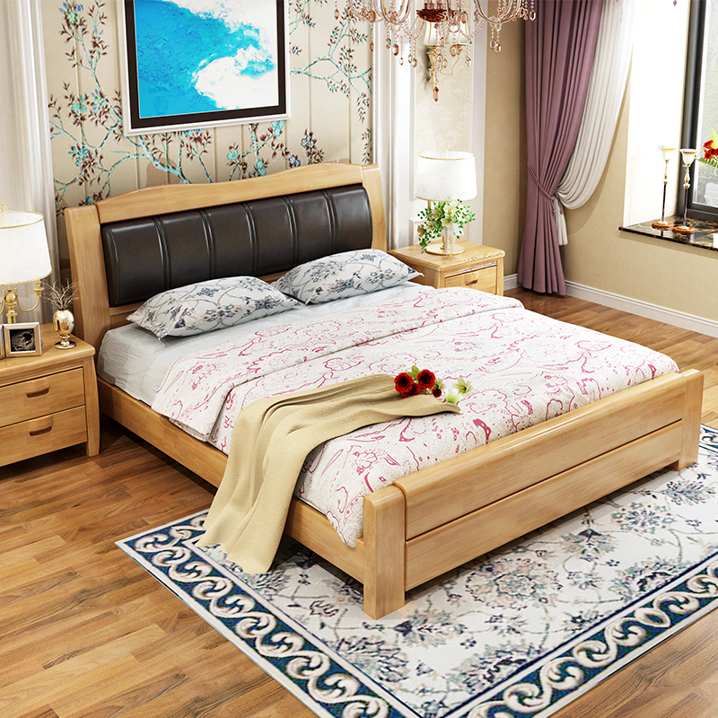 New Chinese solid wood bed 1.8 meters double bed, modern simple 1.5 soft, rely on marriage bed, storage bed, master bedroom, oak bed