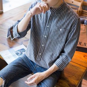 121#春夏新品男士韩版复古圆领套头条纹衬衫七分袖麻棉薄款宽松衬