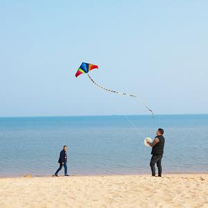 潍坊风筝彩虹风筝大型高档新款成人儿童微风易飞好飞长尾三角风筝