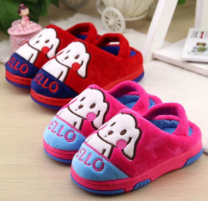 毛毛鞋儿童棉拖鞋秋冬女童男童包跟软底室内宝宝拖鞋1-3岁迪士尼