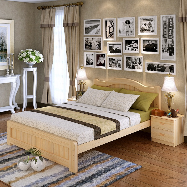 Pine bed single bed, simple modern 1.2m children bed, 1.5m solid wood log double bed, 1.8m bed white