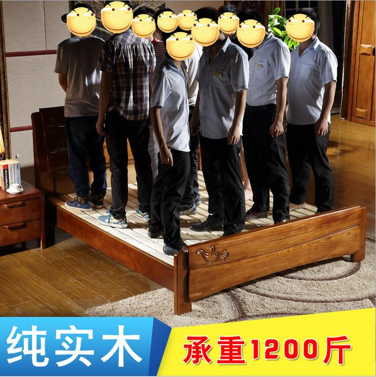 High grade all solid wood double bed, 1.81.5 meters oak bed, modern Chinese bed, bedroom, air pressure, high box can be fixed