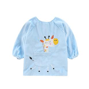 儿童吃饭围兜宝宝男女童吃饭衣婴幼儿防水纯棉反穿罩衣画画衣围裙