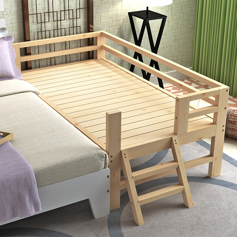 Stitching bed, pine bed for children, solid wood bed widening, log baby barrier bed, single person double bed custom made
