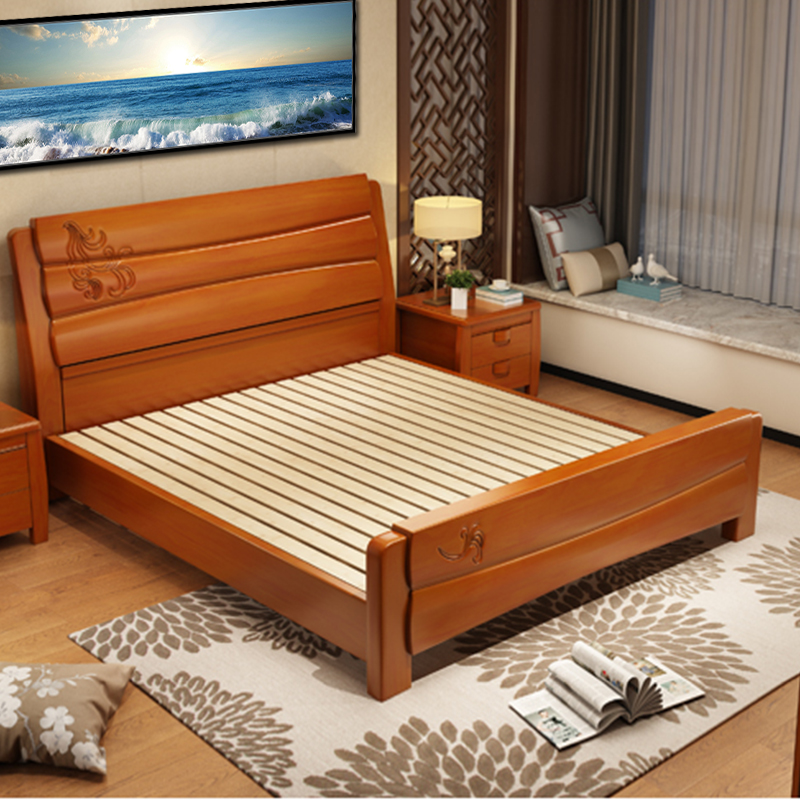 Solid wood bed double bed 1.8 meters, new Chinese style simple, modern economy 1.5m storage high box bed master bedroom wedding bed