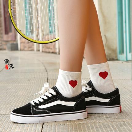中筒袜全棉运动韩版长袜可爱日系原宿潮短袜笑脸袜子女学生街头袜