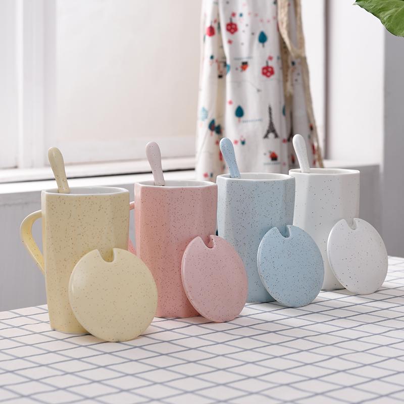 чашку чая с покрытия с ложкой кубок кубок IKEA любителей творчества любителей литературы и искусства с крышкой, милые женщины Кореи кубок студентов