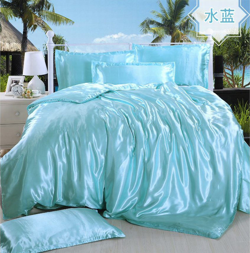 Spring and summer ice four piece four piece silk satin silk quilt bed sheets 1.8M