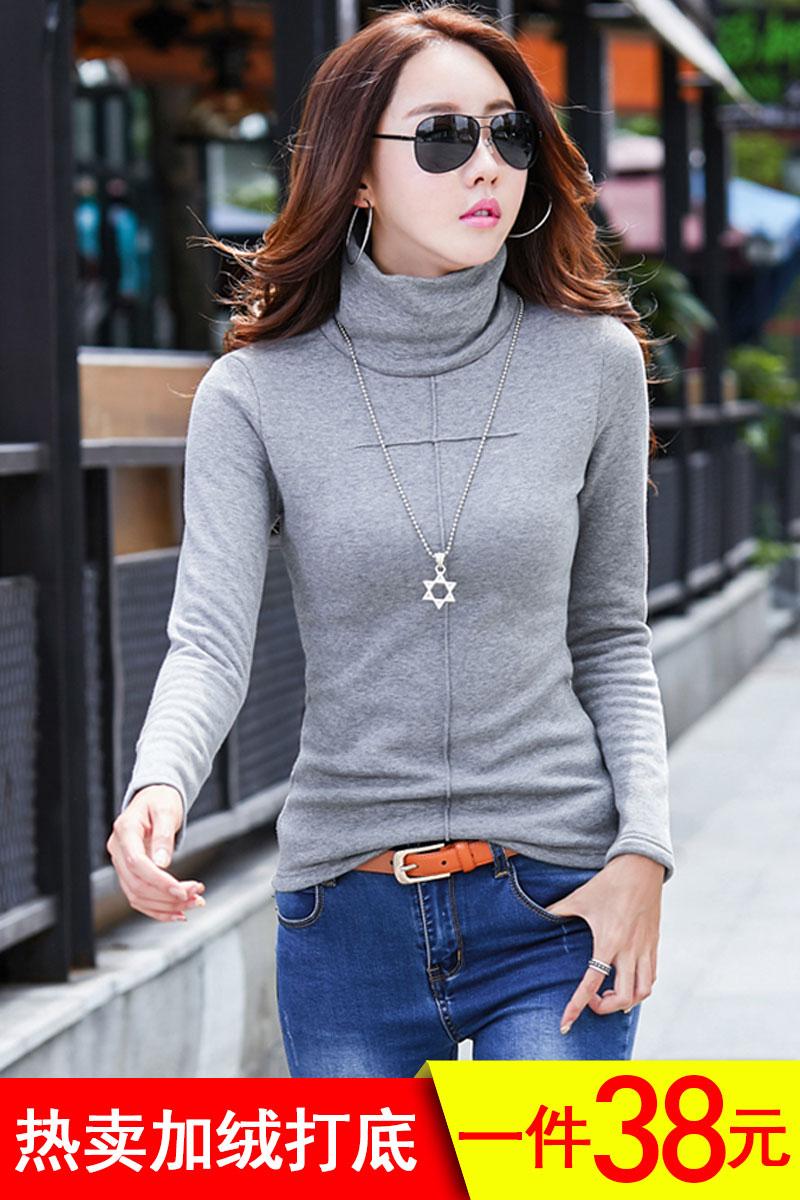 Todos OS DIAS de outono e inverno parágrafo especial gola camisa de manga comprida camisola Grandes pilhas de veludo espessamento de algodão e veludo de código com OS T - shirt de Mulheres