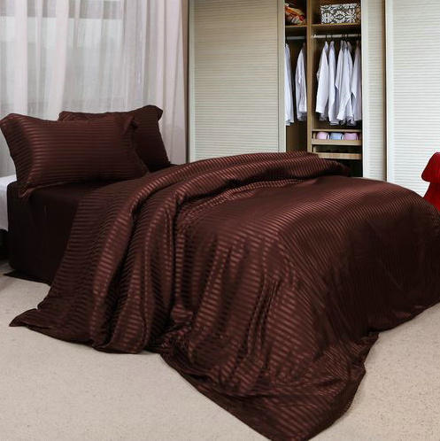 Four sets of silk cloth, silk stripe printing, bedding, pillowcase and black color
