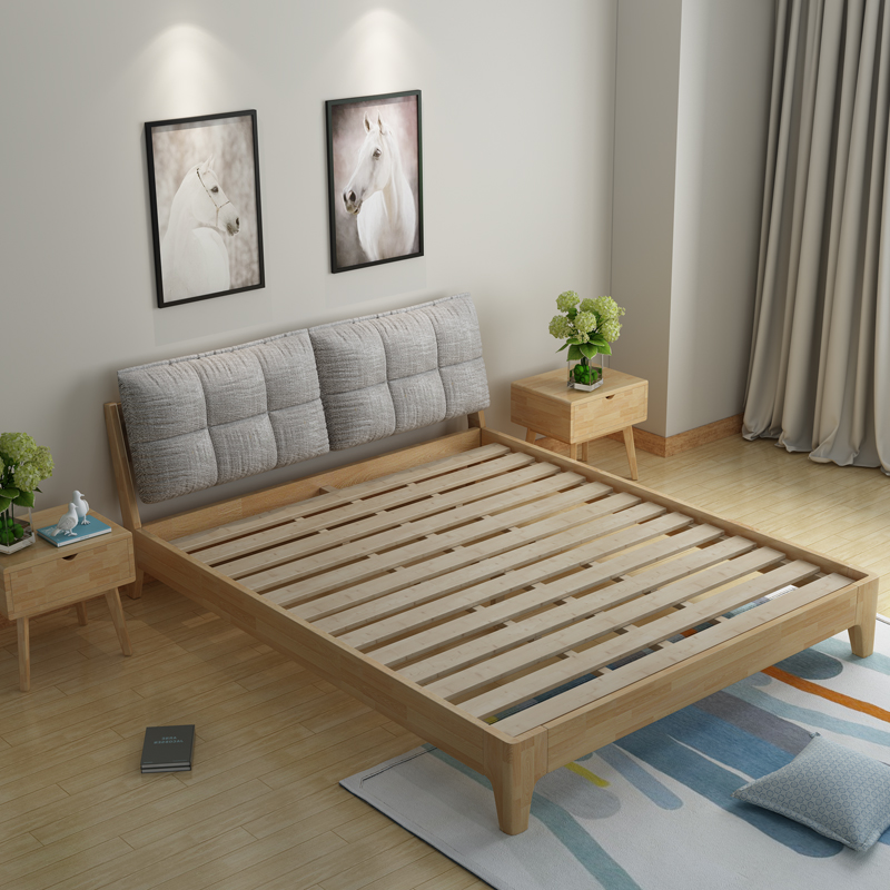 Diamond bed, modern wedding bed, simple Japanese style single bed, 1.5m1.8 m double bed, soft bed
