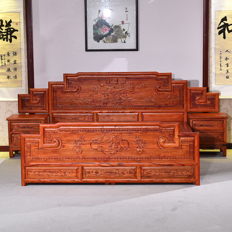 Modern Chinese wood BBK 1.8 meters double bed landscape carved hook height bed elm wood